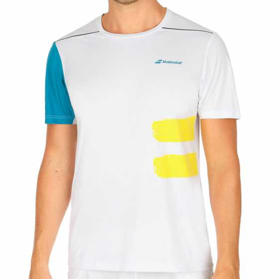 Мужская футболка Babolat Crew Neck Performance 2018 Цвет Белый/Синяя мозаика 2MS18011-1003