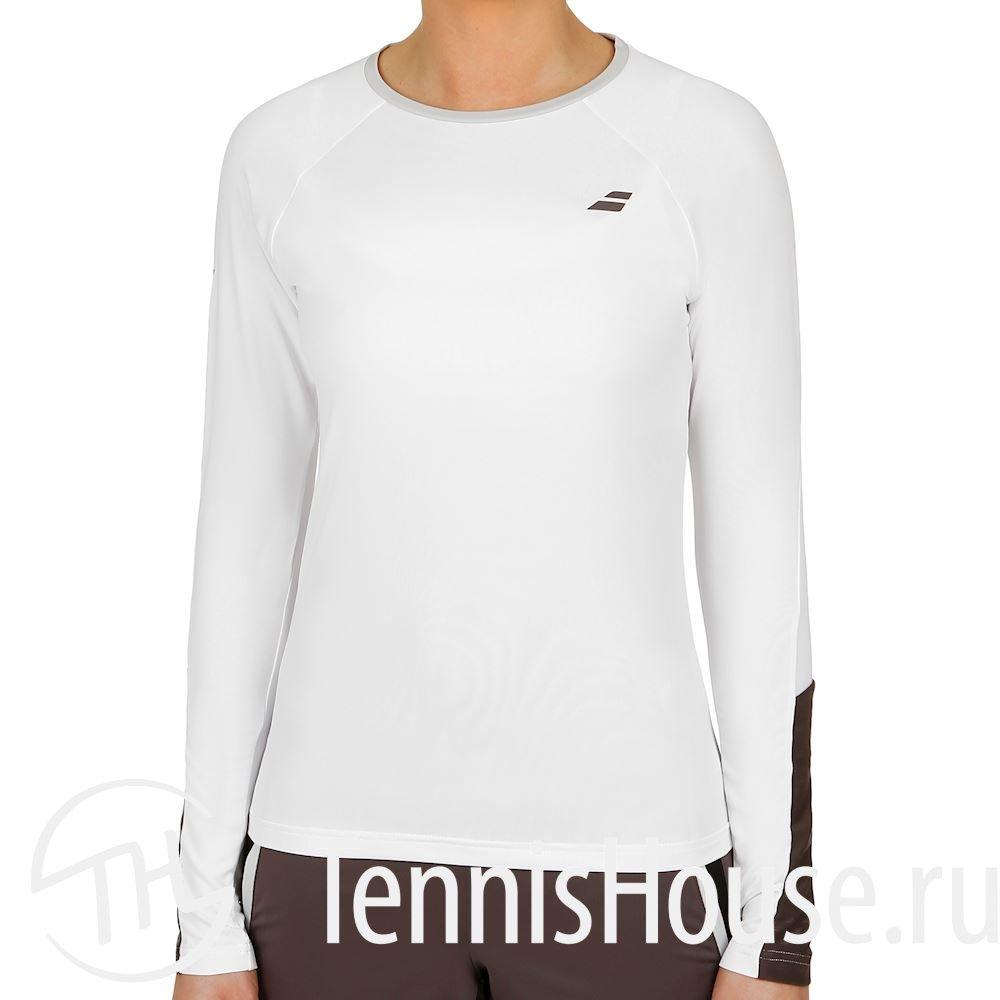 Женская футболка Babolat Core LS Цвет Белый/Темно серый 3WS18111-1011