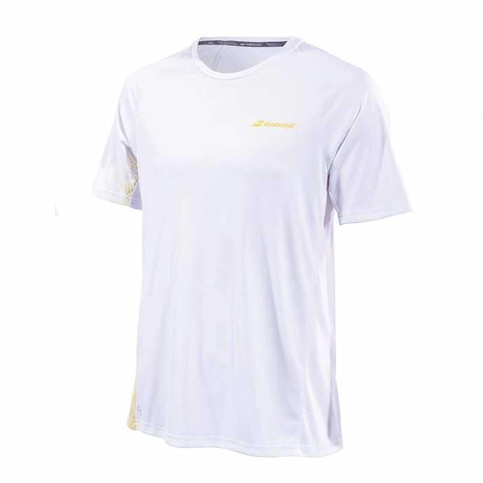 Мужская футболка Babolat Perf Crew Neck 2019 Цвет Белый/ Темно желтый 2MS19011-1025