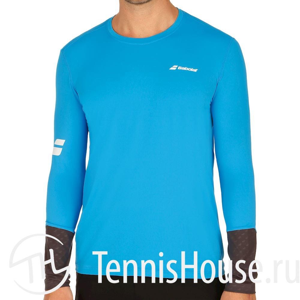 Мужская футболка Babolat Core LS 2018 Цвет Ярко синий/Темно серый 3MS18111-4024