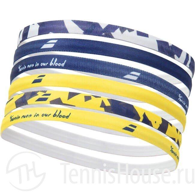 Эластичная повязка на голову женская Babolat 6шт Цвет Желтый/Сумеречно синий 5WA1292-7009